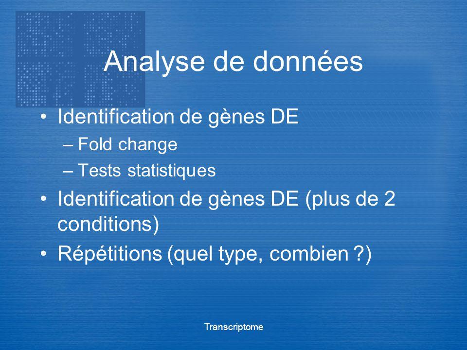 Transcriptome Analyse de données Identification de gènes DE –Fold change –Tests statistiques Identification de gènes DE (plus de 2 conditions) Répétit