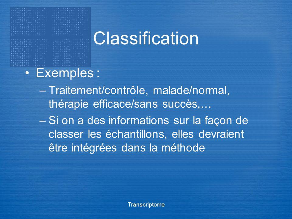 Transcriptome Classification Exemples : –Traitement/contrôle, malade/normal, thérapie efficace/sans succès,… –Si on a des informations sur la façon de