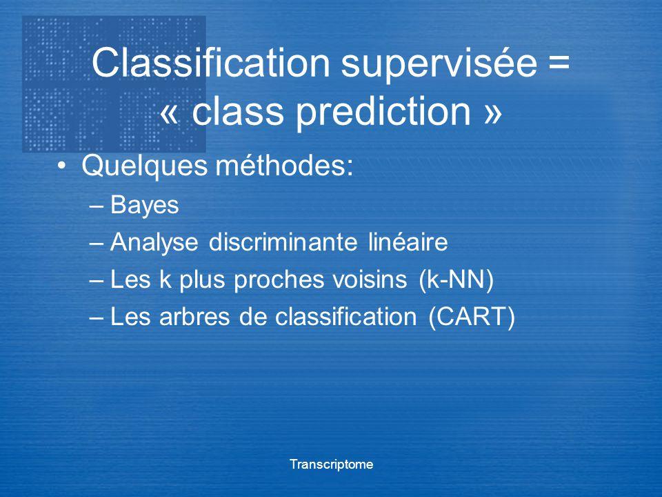 Transcriptome Classification supervisée = « class prediction » Quelques méthodes: –Bayes –Analyse discriminante linéaire –Les k plus proches voisins (
