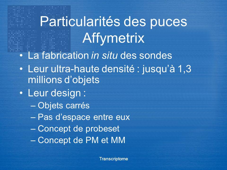 Transcriptome Particularités des puces Affymetrix La fabrication in situ des sondes Leur ultra-haute densité : jusquà 1,3 millions dobjets Leur design