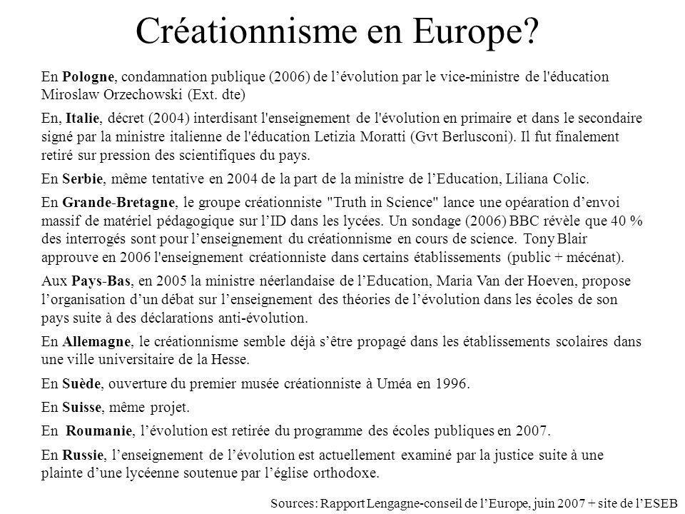 Créationnisme en Europe? En Pologne, condamnation publique (2006) de lévolution par le vice-ministre de l'éducation Miroslaw Orzechowski (Ext. dte) En