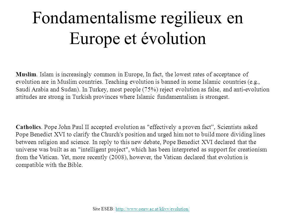 Fondamentalisme regilieux en Europe et évolution Catholics. Pope John Paul II accepted evolution as