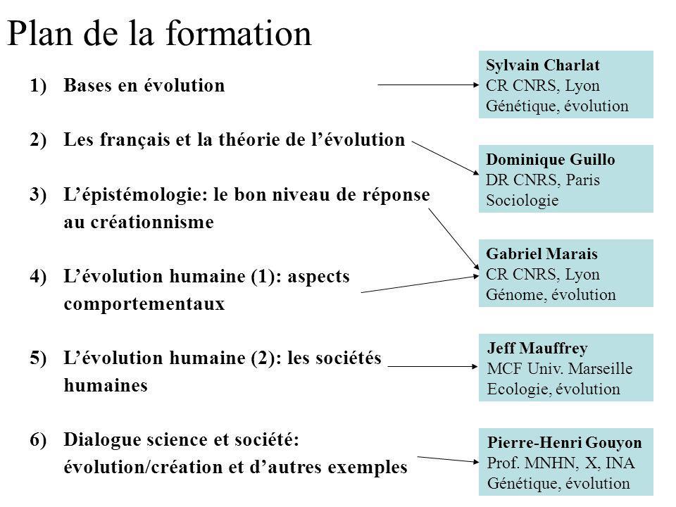 Plan de la formation 1)Bases en évolution 2)Les français et la théorie de lévolution 3)Lépistémologie: le bon niveau de réponse au créationnisme 4)Lév