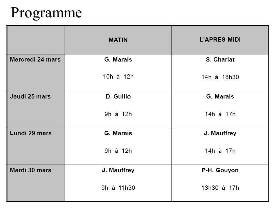 Programme MATIN L'APRES MIDI Mercredi 24 marsG. Marais 10h à 12h S. Charlat 14h à 18h30 Jeudi 25 marsD. Guillo 9h à 12h G. Marais 14h à 17h Lundi 29 m