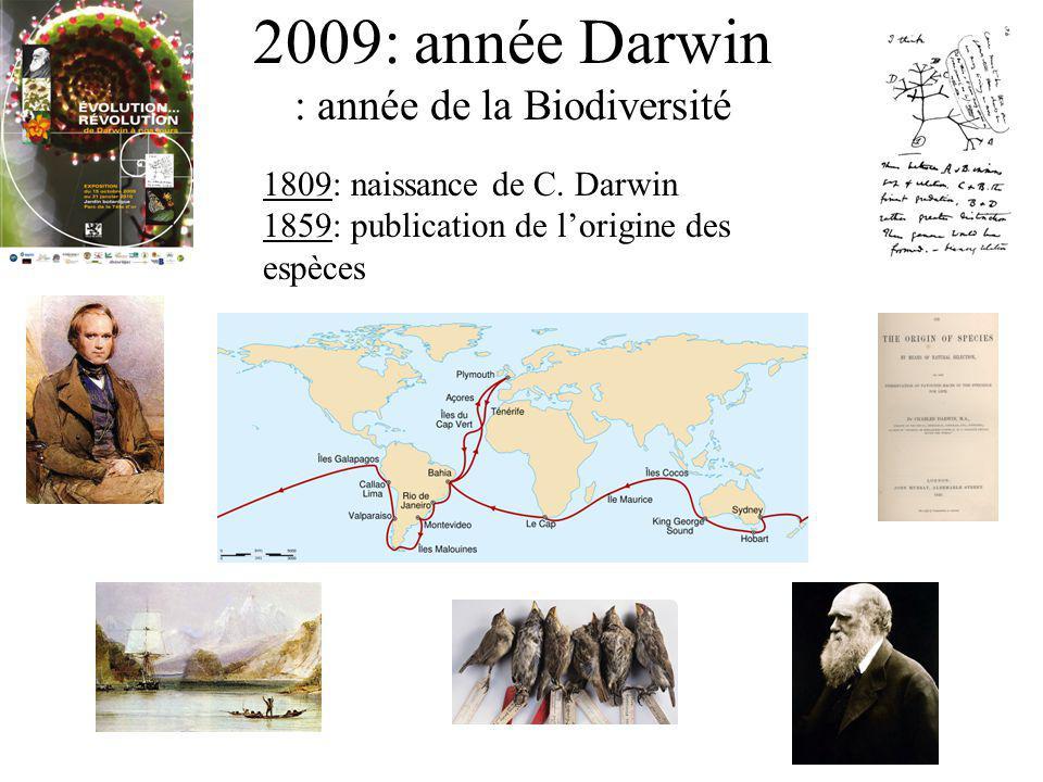2009: année Darwin : année de la Biodiversité 1809: naissance de C. Darwin 1859: publication de lorigine des espèces