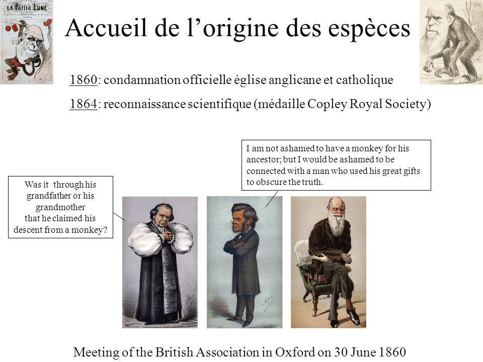Accueil de lorigine des espèces Meeting of the British Association in Oxford on 30 June 1860 1860: condamnation officielle église anglicane et catholi