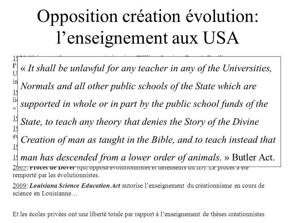 Opposition création évolution: lenseignement aux USA 1920: Naissance du mouvement créationniste (William Jennings Bryan). Il milite pour linterdiction