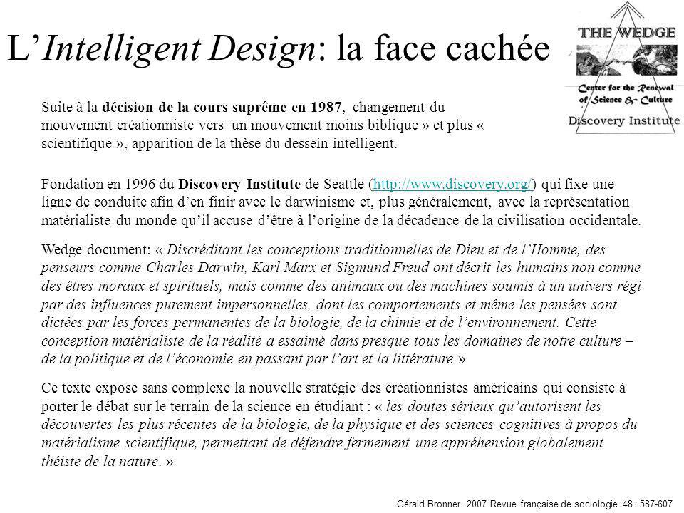 LIntelligent Design: la face cachée Fondation en 1996 du Discovery Institute de Seattle (http://www.discovery.org/) qui fixe une ligne de conduite afi