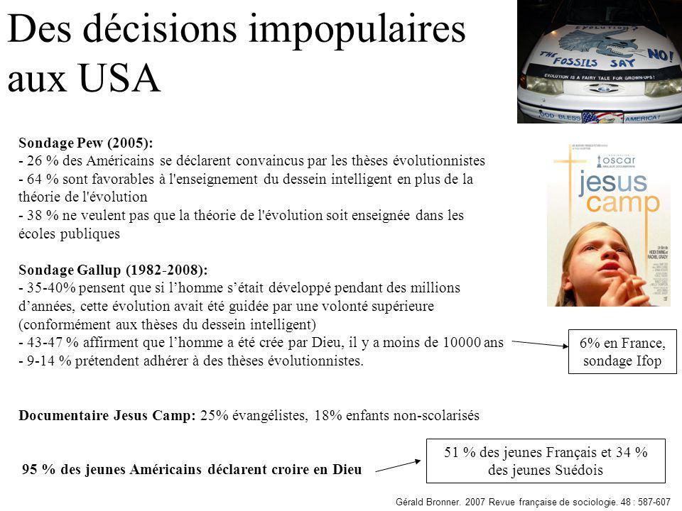 Des décisions impopulaires aux USA Sondage Pew (2005): - 26 % des Américains se déclarent convaincus par les thèses évolutionnistes - 64 % sont favora