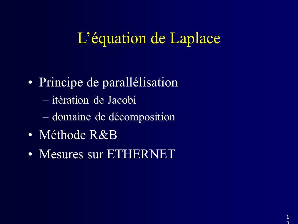Principe de parallélisation –itération de Jacobi –domaine de décomposition Méthode R&B Mesures sur ETHERNET Léquation de Laplace 17