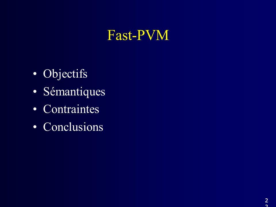 Objectifs Sémantiques Contraintes Conclusions Fast-PVM 22