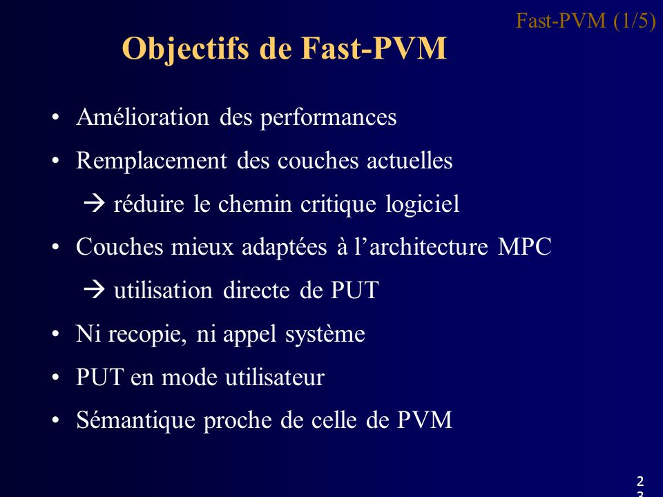 Objectifs de Fast-PVM Fast-PVM (1/5) Amélioration des performances Remplacement des couches actuelles réduire le chemin critique logiciel Couches mieux adaptées à larchitecture MPC utilisation directe de PUT Ni recopie, ni appel système PUT en mode utilisateur Sémantique proche de celle de PVM 23