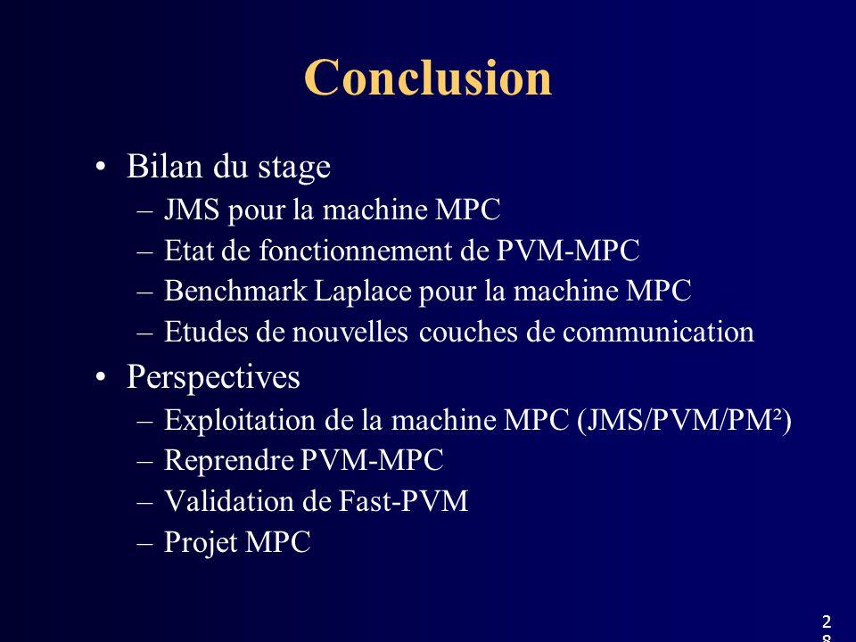 Conclusion Bilan du stage –JMS pour la machine MPC –Etat de fonctionnement de PVM-MPC –Benchmark Laplace pour la machine MPC –Etudes de nouvelles couches de communication Perspectives –Exploitation de la machine MPC (JMS/PVM/PM²) –Reprendre PVM-MPC –Validation de Fast-PVM –Projet MPC 28