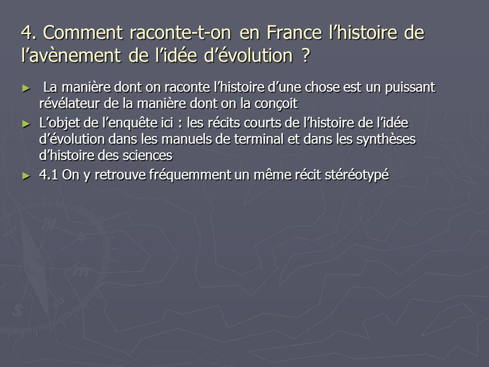 4. Comment raconte-t-on en France lhistoire de lavènement de lidée dévolution ? La manière dont on raconte lhistoire dune chose est un puissant révéla