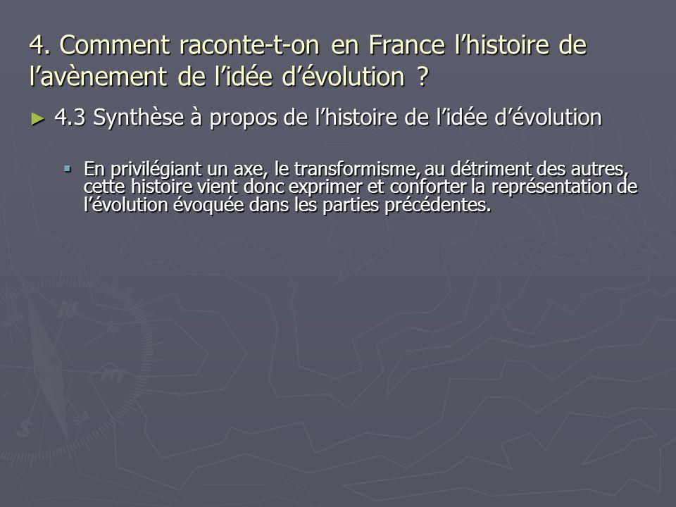 4. Comment raconte-t-on en France lhistoire de lavènement de lidée dévolution ? 4.3 Synthèse à propos de lhistoire de lidée dévolution 4.3 Synthèse à