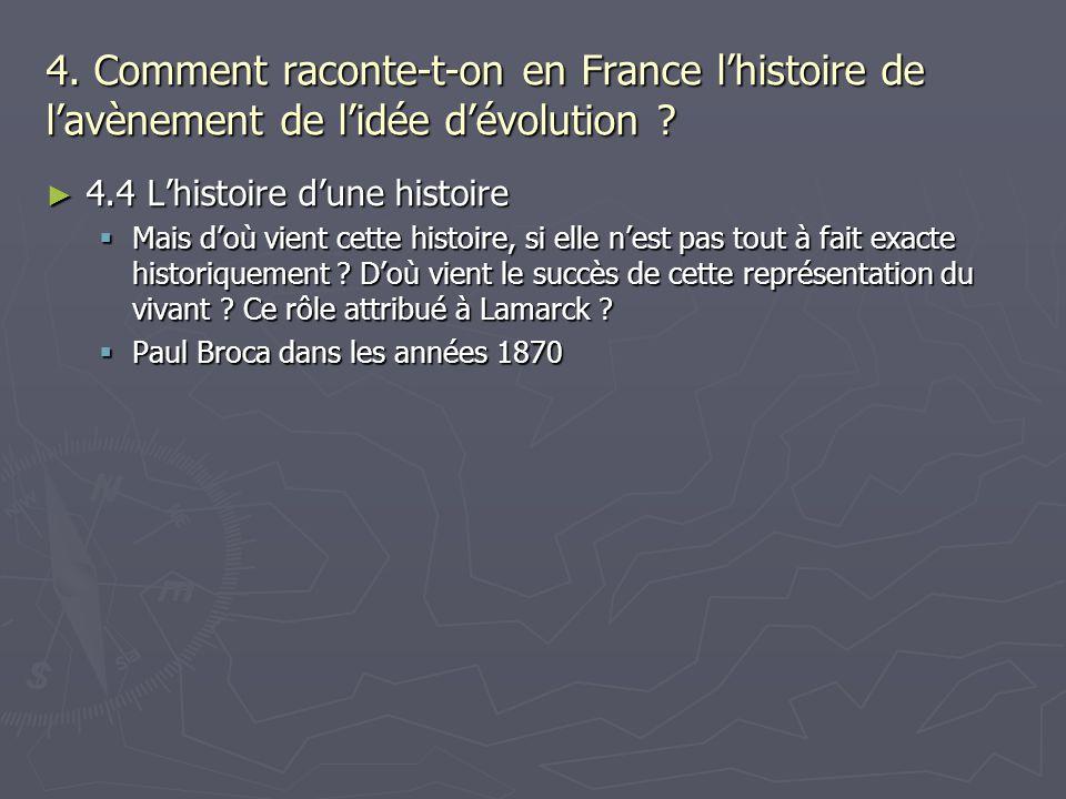 4. Comment raconte-t-on en France lhistoire de lavènement de lidée dévolution ? 4.4 Lhistoire dune histoire 4.4 Lhistoire dune histoire Mais doù vient