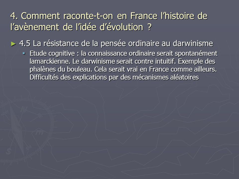 4. Comment raconte-t-on en France lhistoire de lavènement de lidée dévolution ? 4.5 La résistance de la pensée ordinaire au darwinisme 4.5 La résistan