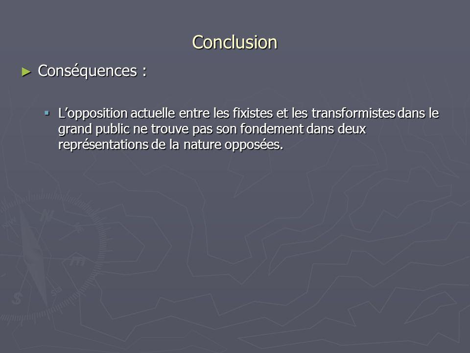 Conclusion Conséquences : Conséquences : Lopposition actuelle entre les fixistes et les transformistes dans le grand public ne trouve pas son fondemen