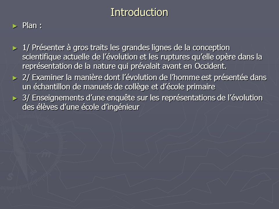 Introduction Plan : Plan : 1/ Présenter à gros traits les grandes lignes de la conception scientifique actuelle de lévolution et les ruptures quelle o