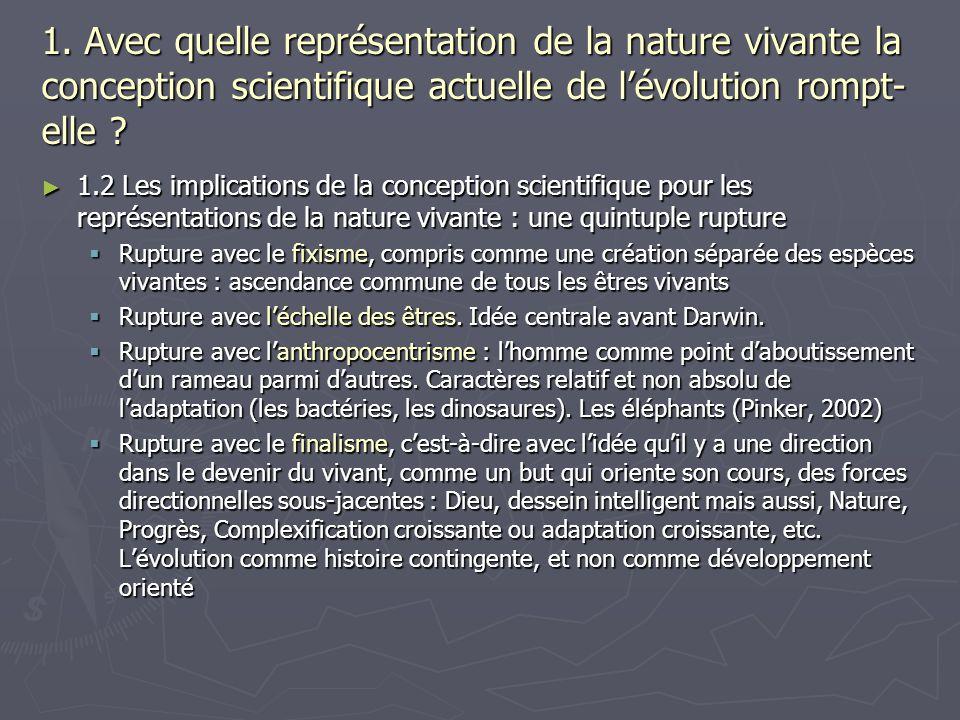 1. Avec quelle représentation de la nature vivante la conception scientifique actuelle de lévolution rompt- elle ? 1.2 Les implications de la concepti