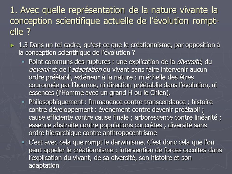1. Avec quelle représentation de la nature vivante la conception scientifique actuelle de lévolution rompt- elle ? 1.3 Dans un tel cadre, quest-ce que