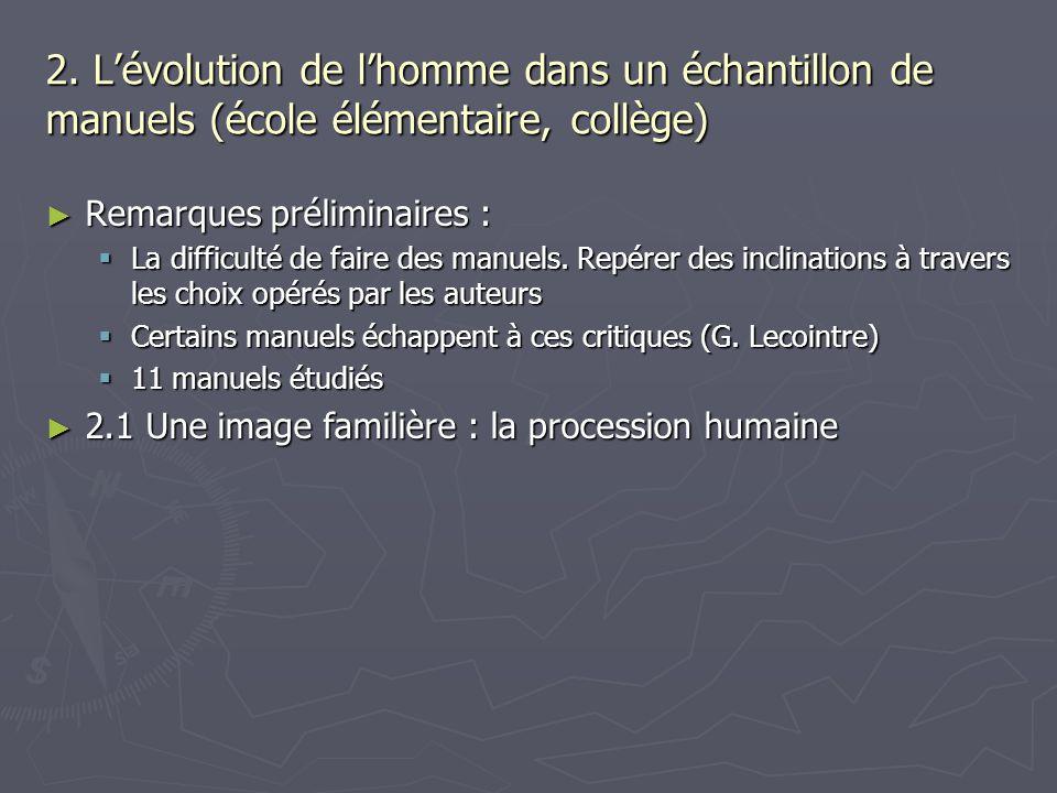 2. Lévolution de lhomme dans un échantillon de manuels (école élémentaire, collège) Remarques préliminaires : Remarques préliminaires : La difficulté