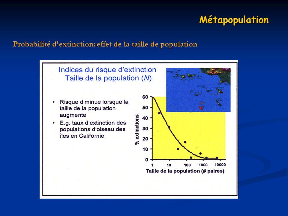 Probabilité dextinction: effet de la taille de population Métapopulation