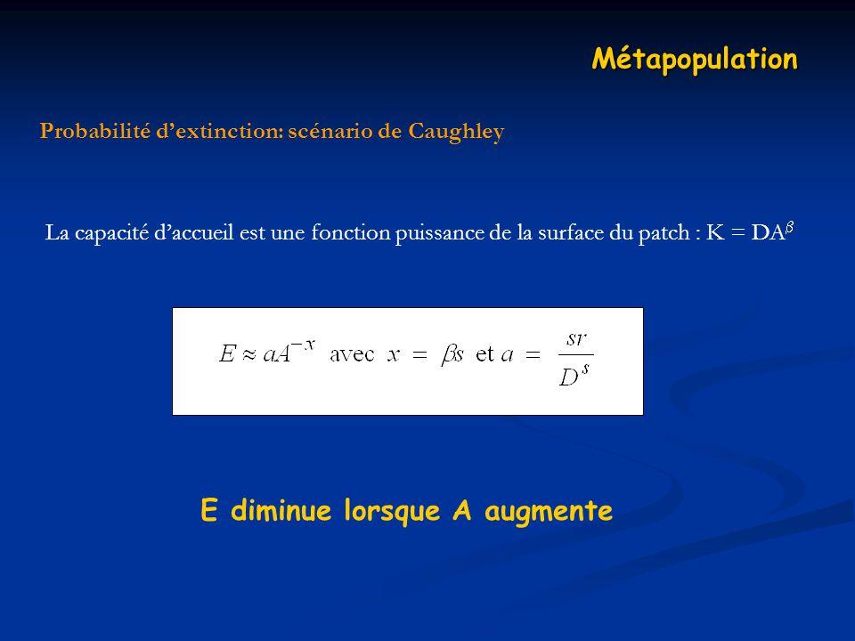 Métapopulation La capacité daccueil est une fonction puissance de la surface du patch : K = DA E diminue lorsque A augmente