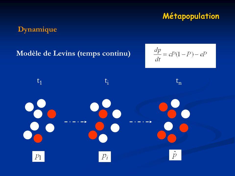 Dynamique Métapopulation Modèle de Levins (temps continu) t1t1 titi tntn