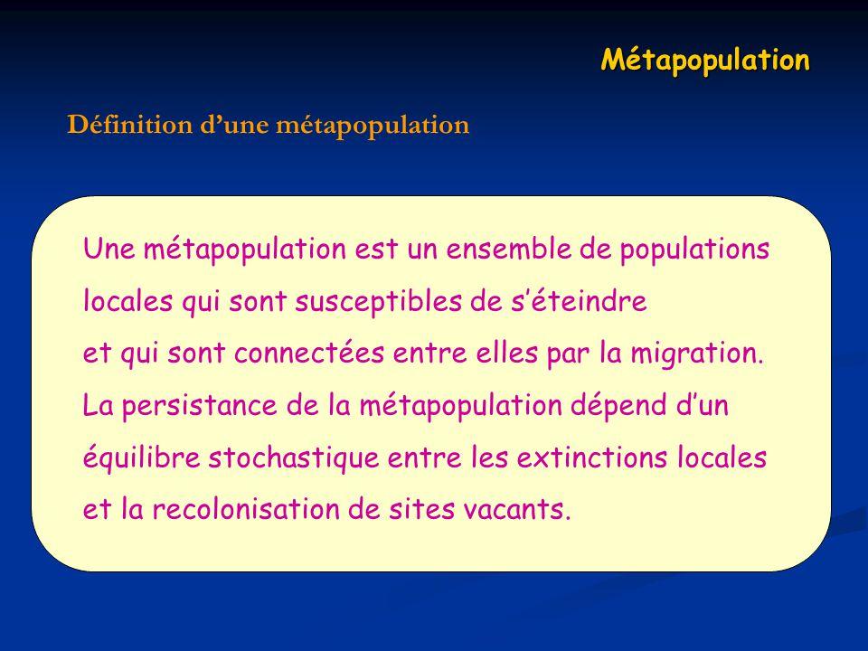 Métapopulation Définition dune métapopulation Une métapopulation est un ensemble de populations locales qui sont susceptibles de séteindre et qui sont connectées entre elles par la migration.