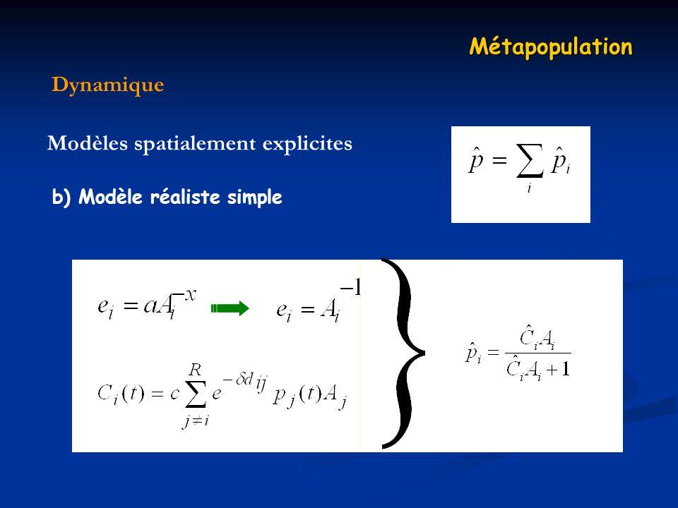 Dynamique Métapopulation Modèles spatialement explicites b) Modèle réaliste simple