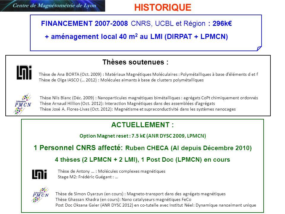 ACTUELLEMENT : Option Magnet reset : 7.5 k (ANR DYSC 2009, LPMCN) 1 Personnel CNRS affecté: Ruben CHECA (AI depuis Décembre 2010) 4 thèses (2 LPMCN +