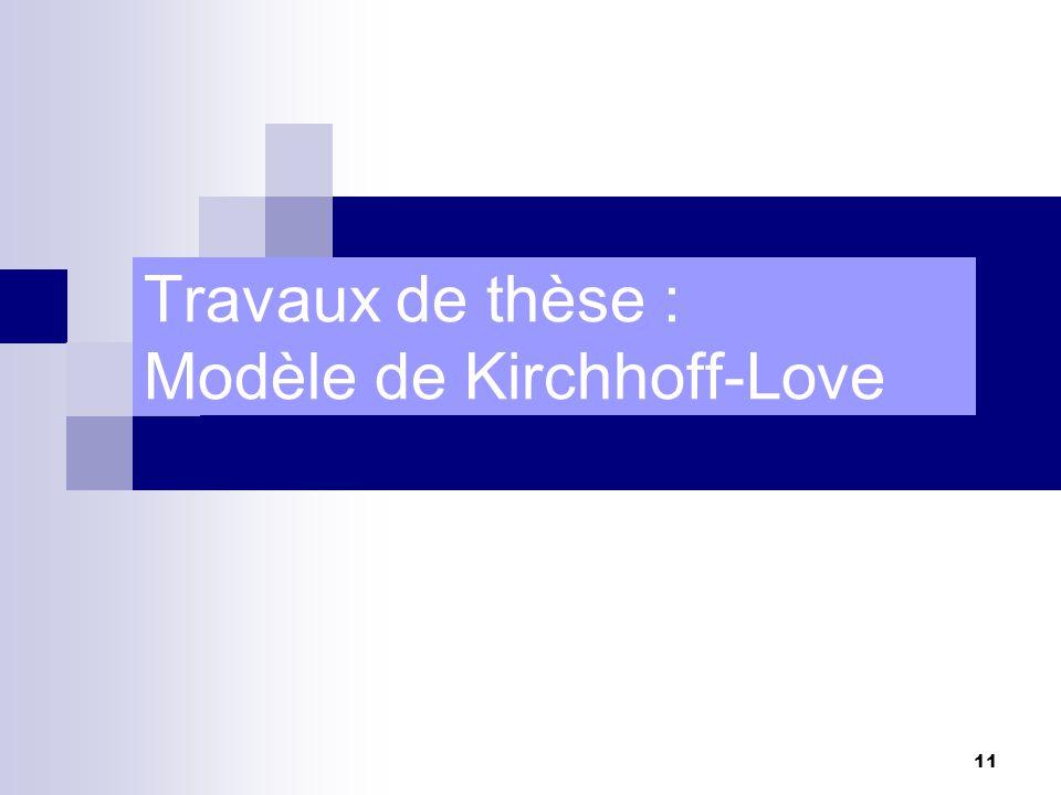 11 Travaux de thèse : Modèle de Kirchhoff-Love