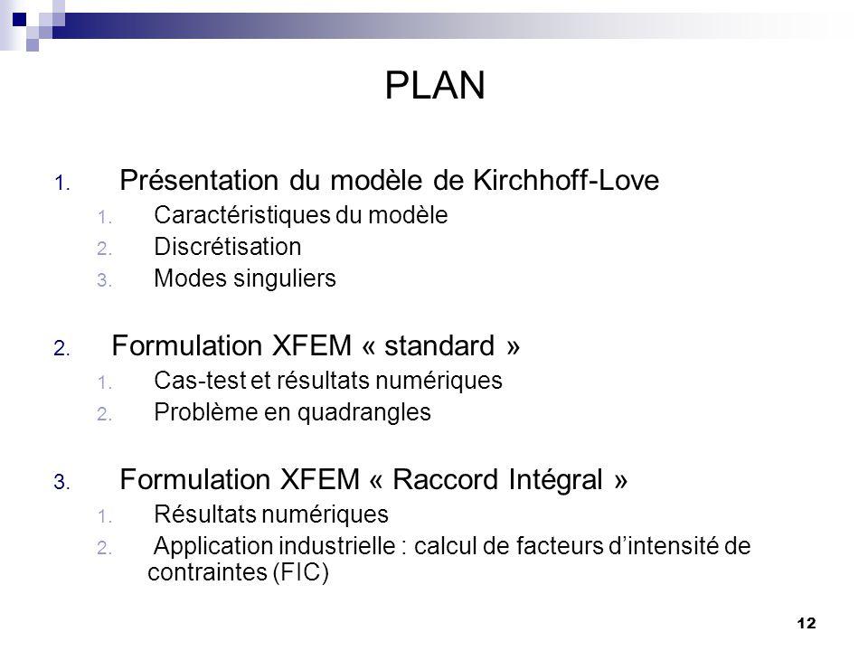12 PLAN 1. Présentation du modèle de Kirchhoff-Love 1. Caractéristiques du modèle 2. Discrétisation 3. Modes singuliers 2. Formulation XFEM « standard