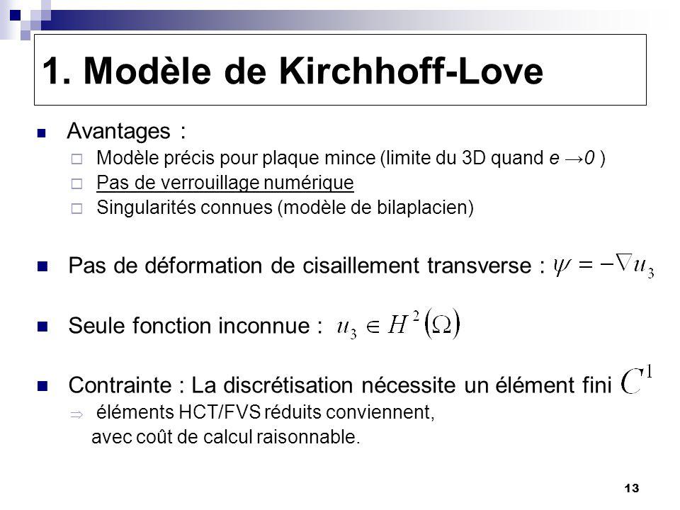 13 1. Modèle de Kirchhoff-Love Avantages : Modèle précis pour plaque mince (limite du 3D quand e 0 ) Pas de verrouillage numérique Singularités connue