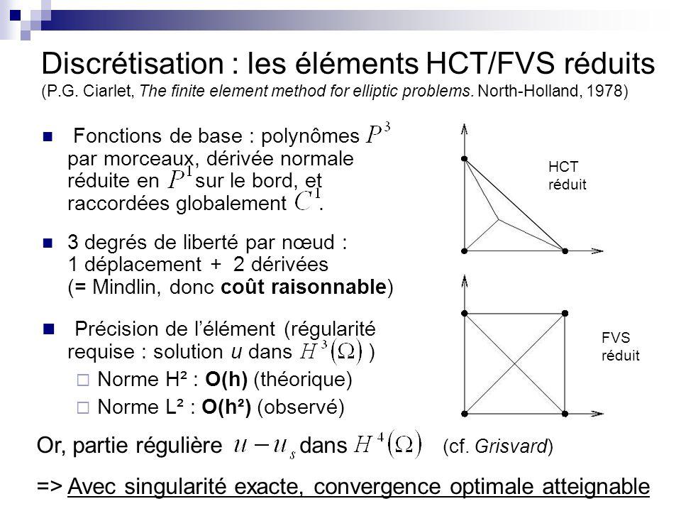 Discrétisation : les éléments HCT/FVS réduits (P.G. Ciarlet, The finite element method for elliptic problems. North-Holland, 1978) Fonctions de base :