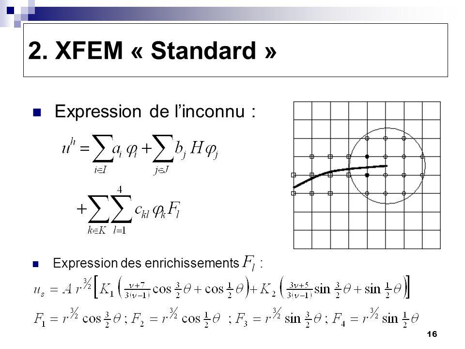 16 2. XFEM « Standard » Expression de linconnu : Expression des enrichissements :