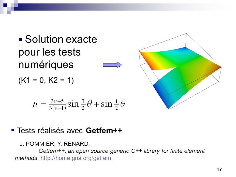 17 Solution exacte pour les tests numériques (K1 = 0, K2 = 1) Tests réalisés avec Getfem++ J. POMMIER, Y. RENARD. Getfem++, an open source generic C++