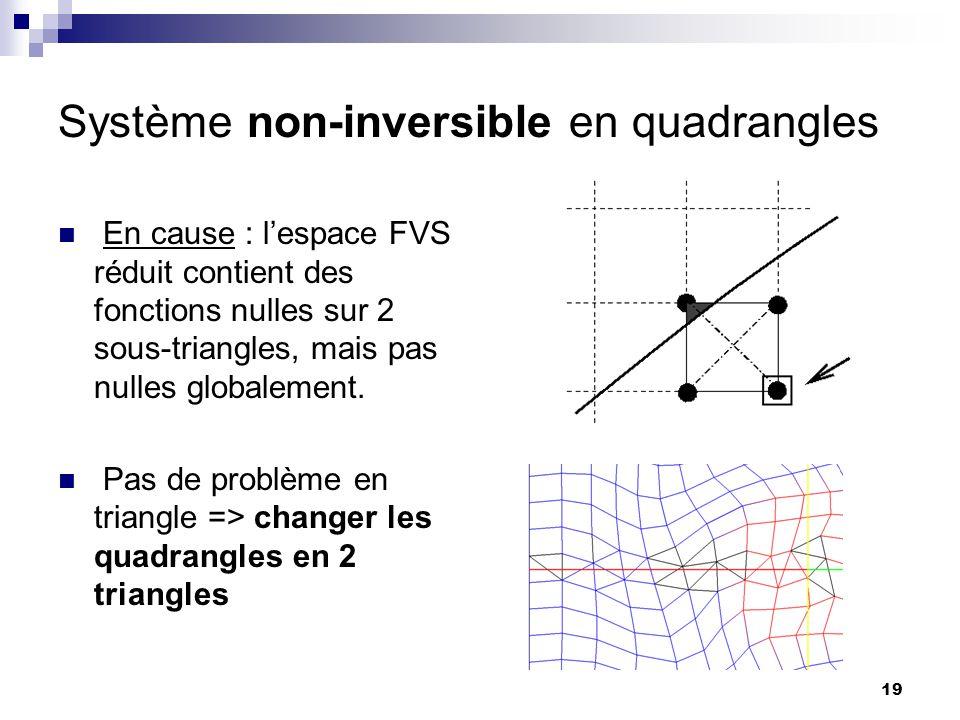 19 Système non-inversible en quadrangles En cause : lespace FVS réduit contient des fonctions nulles sur 2 sous-triangles, mais pas nulles globalement