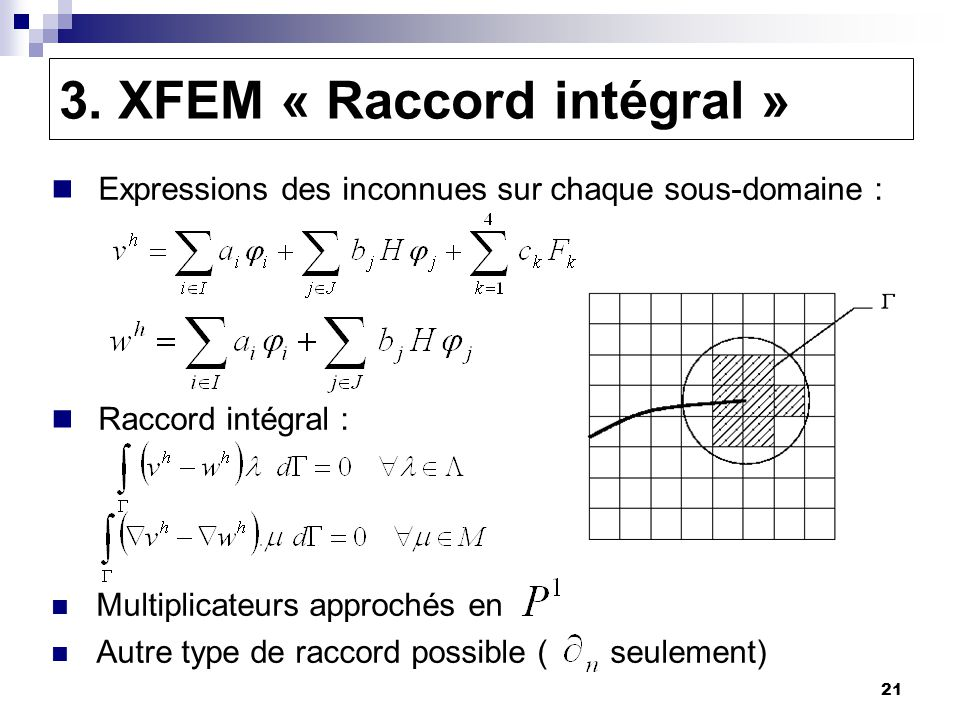 21 3. XFEM « Raccord intégral » Expressions des inconnues sur chaque sous-domaine : Raccord intégral : Multiplicateurs approchés en Autre type de racc