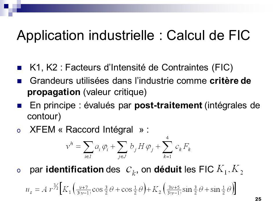 25 Application industrielle : Calcul de FIC K1, K2 : Facteurs dIntensité de Contraintes (FIC) Grandeurs utilisées dans lindustrie comme critère de pro