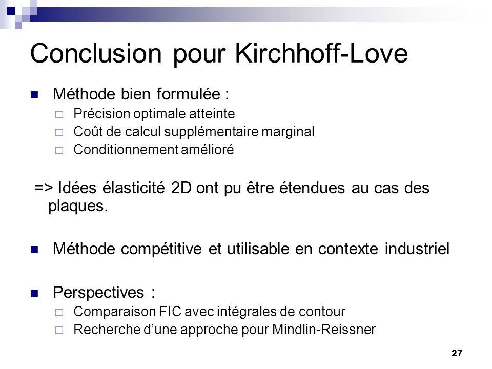 27 Conclusion pour Kirchhoff-Love Méthode bien formulée : Précision optimale atteinte Coût de calcul supplémentaire marginal Conditionnement amélioré
