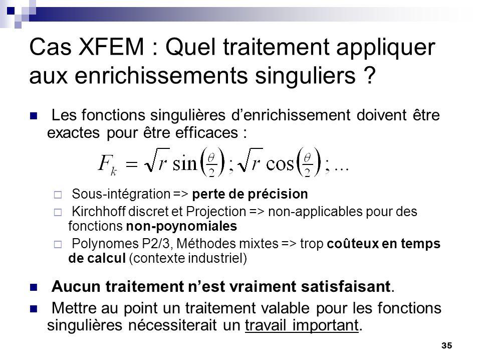 35 Cas XFEM : Quel traitement appliquer aux enrichissements singuliers ? Les fonctions singulières denrichissement doivent être exactes pour être effi