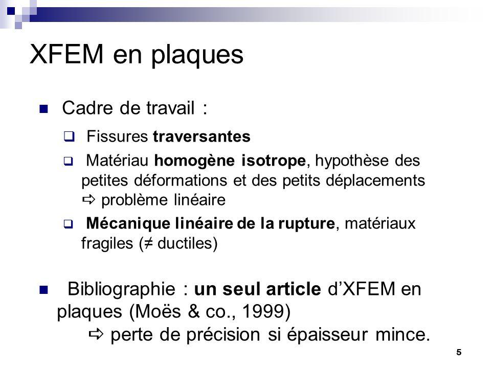 XFEM en plaques 5 Cadre de travail : Fissures traversantes Matériau homogène isotrope, hypothèse des petites déformations et des petits déplacements p