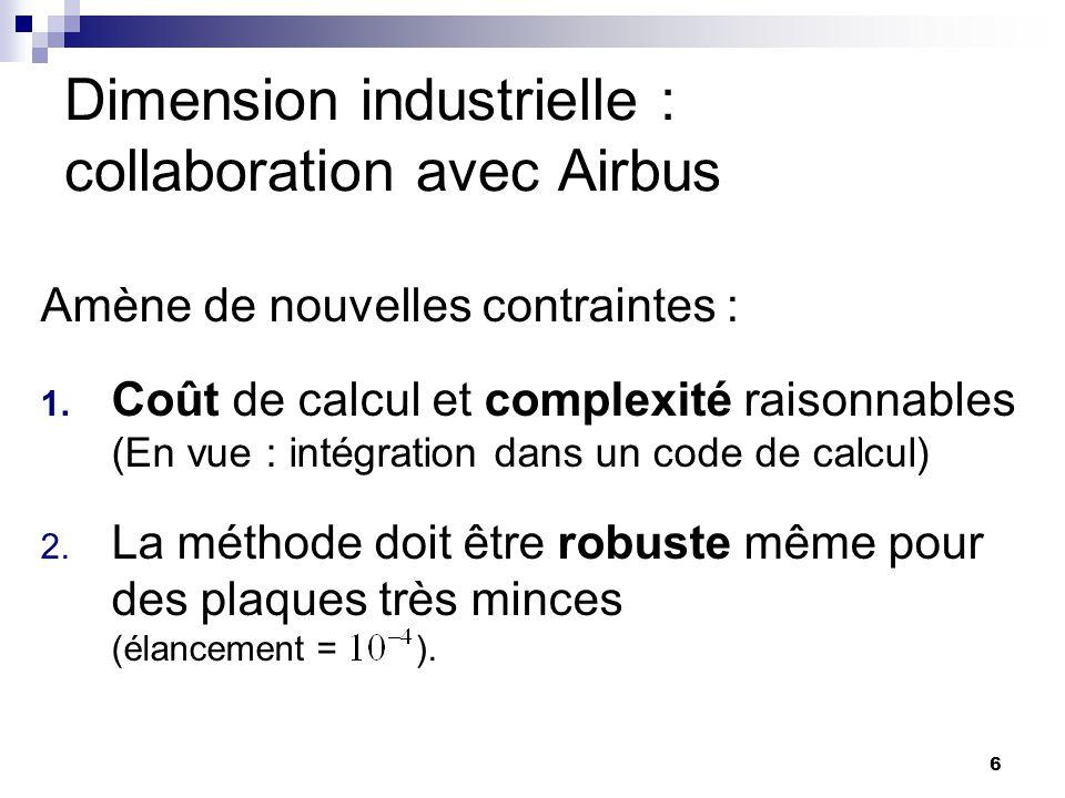 6 Dimension industrielle : collaboration avec Airbus Amène de nouvelles contraintes : 1. Coût de calcul et complexité raisonnables (En vue : intégrati