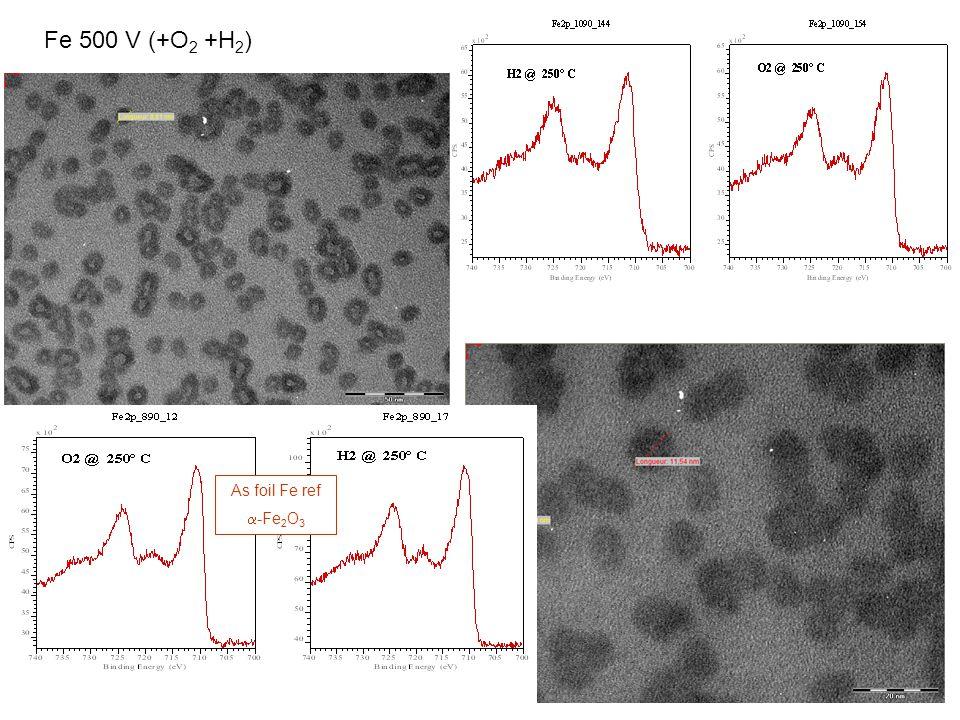 FeAu 300 V (+O 2 +H 2 ), D core ~2.5 nm Au non oxydé -Fe 2 O 3 FeAu 500 V (+O 2 +H 2 ) Au non oxydé Fe 3 O 4 Fe dans les nanoalliages FeAu 500 V est moins oxydé que dans les FeAu 300 V.