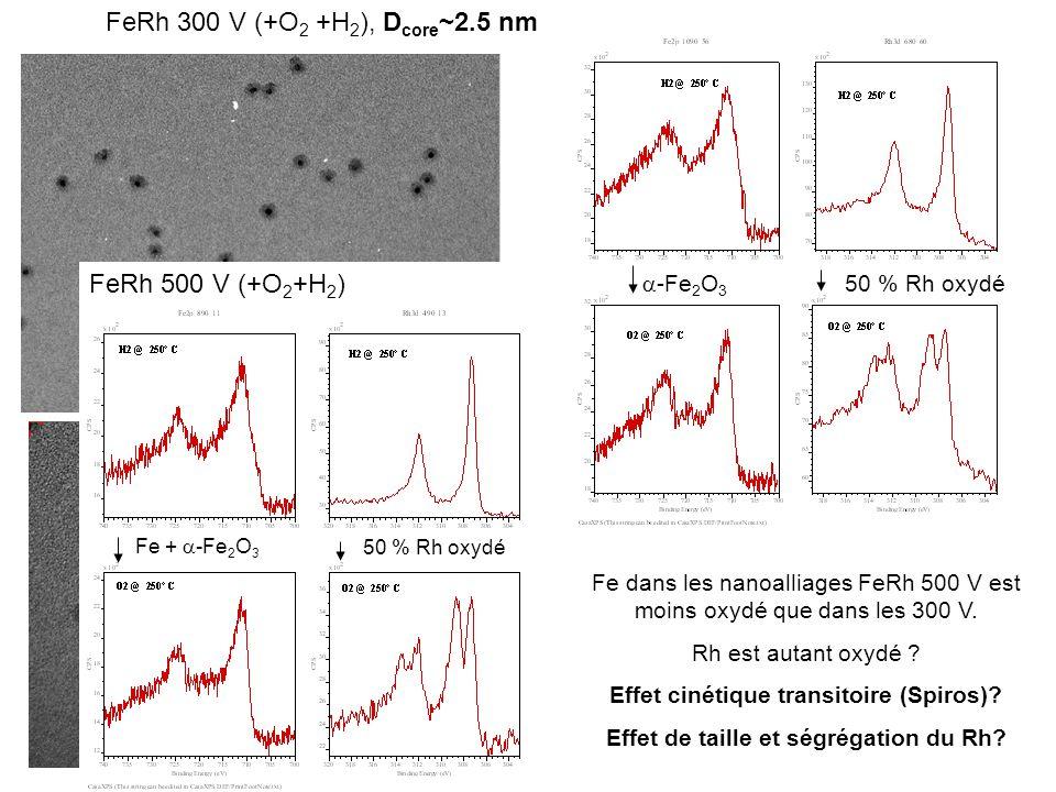 FeRh 300 V (+O 2 +H 2 ), D core ~2.5 nm -Fe 2 O 3 50 % Rh oxydé FeRh 500 V (+O 2 +H 2 ) Fe + -Fe 2 O 3 50 % Rh oxydé Fe dans les nanoalliages FeRh 500
