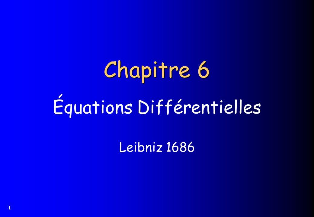 1 Chapitre 6 Équations Différentielles Leibniz 1686