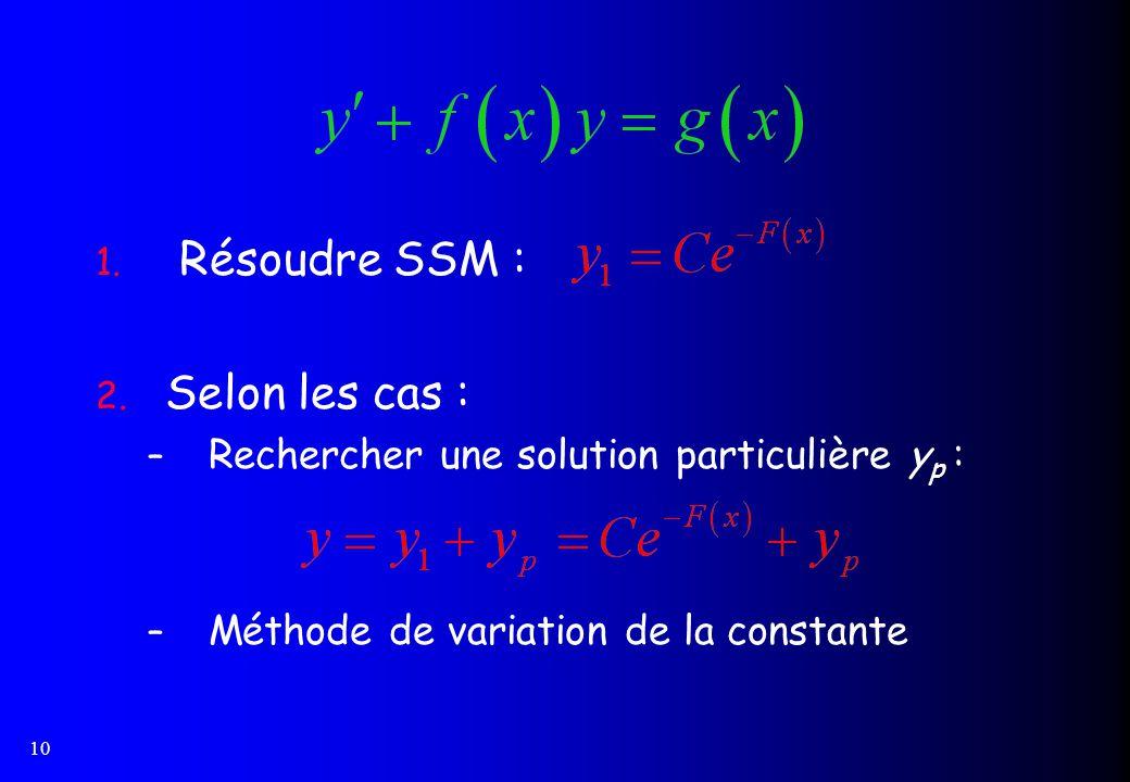 10 1. Résoudre SSM : 2. Selon les cas : – Rechercher une solution particulière y p : – Méthode de variation de la constante