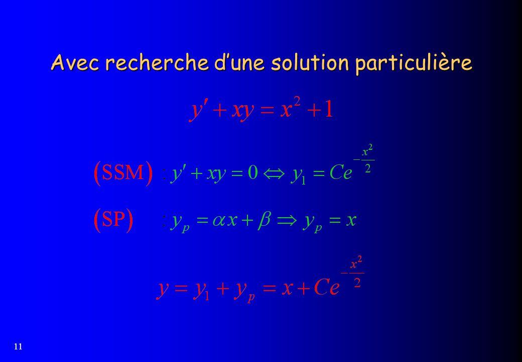 11 Avec recherche dune solution particulière
